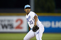 Burlington Royals relief pitcher Emmanuel Estevez (23) in action against the Johnson City Cardinals at Burlington Athletic Stadium on July 15, 2018 in Burlington, North Carolina. The Cardinals defeated the Royals 7-6.  (Brian Westerholt/Four Seam Images)