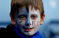 A young Leicester City fan with a painted face during the Barclays Premier League match between Leicester City and Swansea City played at The King Power Stadium, Leicester on 24th April 2016