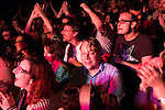 July 24, 2014. Carrboro, North Carolina.<br />  The crowd during Superchunk's headlining Thursday night set.<br />  Day two of the MERGE 25 festival, celebrating the 25 year history of the independent record label.