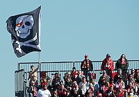 31 March 2011: The Toronto FC fans fly a scull and bones fan during a game between the Columbus Crew and the Toronto FC at BMO Field in Toronto, Ontario Canada..The Columbus Crew won 1-0.