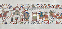 Bayeux Tapestry scene 23 :  In front of Duke William, Harold touches 2 reliqueries and swears fealty to Duke William. BYX23