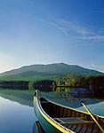Mt. Katahdin, canoe on Upper Togue Pond in Baxter State Park, Maine, USA