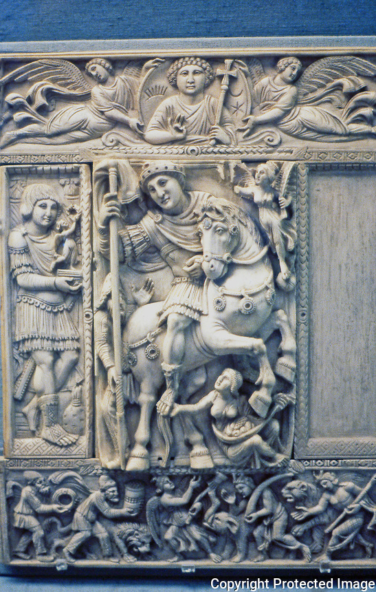 Greek Art:   Barberini ivory is a Byzantine ivory leaf from an imperial diptych dating from Late Antiquity, now in the Louvre in Paris. It is carved in the style known as late Theodosian, 1st part of 6th century.