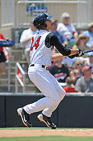 Kannapolis Intimidators Trayce Thompson #24 swings at  a pitch during a game against the Hagerstown Suns at Fieldcrest Cannon Stadium in Kannapolis,  North Carolina;  May 30, 2011.  The Intimidators won the game 3-0.  Photo By Tony Farlow/Four Seam Images