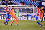 Atletico de Madrid's Koke Resurrección and Juanfran Torres and SD Eibar's Francisco Manuel Rico during Copa del Rey match between Atletico de Madrid and SD Eibar at Vicente Calderon Stadium in Madrid, Spain. January 19, 2017. (ALTERPHOTOS/BorjaB.Hojas)