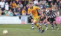Mickey Demetriou of Newport County takes a penalty during the Sky Bet League Two match between Newport County and Notts County at Rodney Parade, Newport, Wales, UK. Saturday 06 May 2017