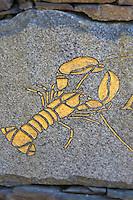Royaume-Uni, îles Anglo-Normandes, île de Sark (Sercq): Détail enseigne d'un restaurant représentant des homards  // United Kingdom, Channel Islands, Sark Island (Sercq): teaches a restaurant representative lobsters