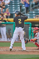 Michael Hermosillo (2) of the Salt Lake Bees bats against the Memphis Redbirds at Smith's Ballpark on July 24, 2018 in Salt Lake City, Utah. Memphis defeated Salt Lake 14-4. (Stephen Smith/Four Seam Images)