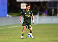 LAKE BUENA VISTA, FL - JULY 18: Pablo Bonilla #28 of the Portland Timbers looks for options during a game between Houston Dynamo and Portland Timbers at ESPN Wide World of Sports on July 18, 2020 in Lake Buena Vista, Florida.