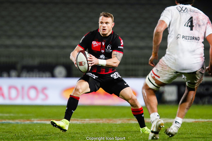 Toby ARNOLD of Lyon and Matthias HALAGAHU of Toulon during the Top 14 match between Lyon OU and RC Toulon at Gerland Stadium on March 27, 2021 in Lyon, France. (Photo by Romain Biard/Icon Sport) - Toby ARNOLD - Matthias HALAGAHU - Stade de Gerland - Lyon (France)