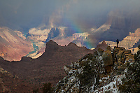 Rain and Snow showers move across the Grand Canyon at Grand Canyon National Park, Arizona