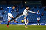 13.02.2021 Rangers v Kilmarnock: Steven Davis has his shot blocked by the legs of Rory McKenzie