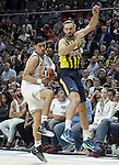 Real Madrid's Gustavo Ayon (l) and Fenerbahce Ulker Istambul's Semih Erden during Euroleague Semifinal match. May 15,2015. (ALTERPHOTOS/Acero)