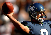 Sep 25, 2005; Seattle, WA, USA; Seattle Seahawks quarterback #8 Matt Hasselbeck passes the ball against the Arizona Cardinals in the second quarter at Qwest Field. Mandatory Credit: Photo By Mark J. Rebilas