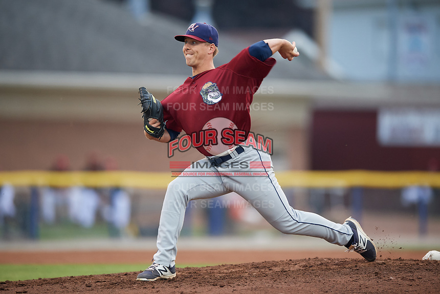 Mahoning Valley Scrappers starting pitcher Kirk McCarty (38) delivers a pitch during a game against the Batavia Muckdogs on August 29, 2017 at Dwyer Stadium in Batavia, New York.  Batavia defeated Mahoning Valley 2-0.  (Mike Janes/Four Seam Images)