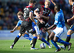 St Johnstone v Inverness Caledonian Thistle...05.10.13      SPFL<br /> Stevie May is blocked by Richie Foran and Josh Meekings<br /> Picture by Graeme Hart.<br /> Copyright Perthshire Picture Agency<br /> Tel: 01738 623350  Mobile: 07990 594431
