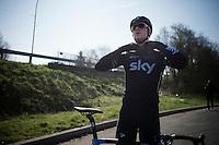 Ian Stannard (GBR/Sky) prepping for a training ride<br /> <br /> 2015 Paris-Roubaix recon with Team SKY