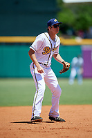 Montgomery Biscuits third baseman Michael Russell (12) during a game against the Mississippi Braves on April 25, 2017 at Montgomery Riverwalk Stadium in Montgomery, Alabama.  Mississippi defeated Montgomery 3-2.  (Mike Janes/Four Seam Images)