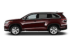 Car Driver side profile view of a 2015 Toyota Highlander Limited Hybrid 4x4 5 Door SUV Side View