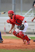 GCL Cardinals catcher Jose Gomez (55) during the second game of a double header against the GCL Mets on July 17, 2013 at Roger Dean Complex in Jupiter, Florida.  GCL Cardinals defeated the GCL Mets 4-2.  (Mike Janes/Four Seam Images)