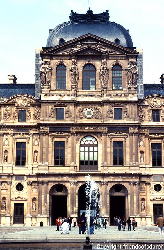 Paris: Louvre--Pavillion de L'Horloge. In the Cour Carree, the Entertainment Court. Reign of Louis XIII. Architect Jacques Lemercier. See AGE OF GRANDEUR, pp. 110-111. Photo '90.