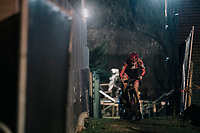 Axelle Bellaert (BEL/Donen-Vondelmolen) emerging from a dark&narrow alley<br /> <br /> Women's Race<br /> Superprestige Diegem / Belgium 2017