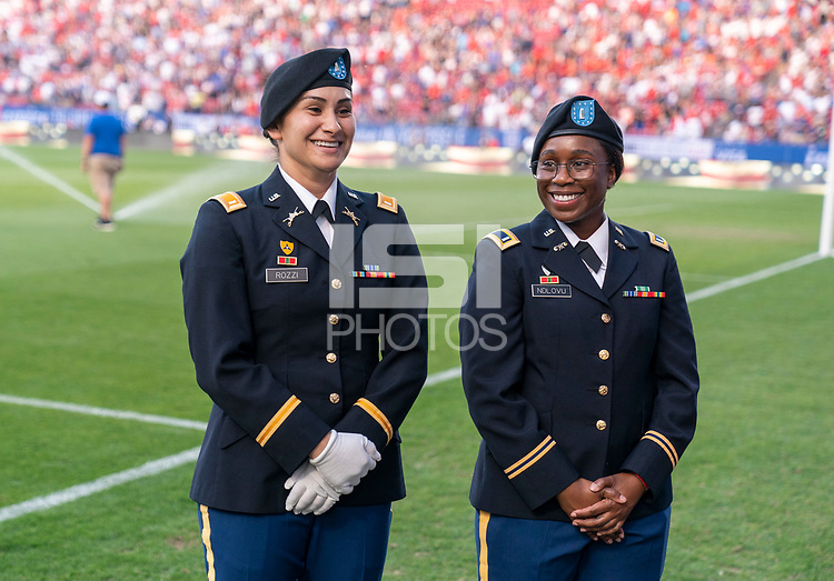 FRISCO, TX - MARCH 11: Military escorts enter the field during a game between Japan and USWNT at Toyota Stadium on March 11, 2020 in Frisco, Texas.