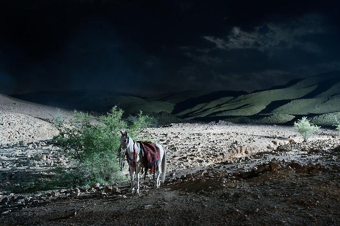 """Shooting of the series """"Dhebbah Ighleis"""" (""""Ighleis le tueur"""") Jordan, Mars 2017 (Arab Telemedia). The story is inspired by Bedouin mythology. The shoot takes place on bedouin tribal lands. Members of the tribe, and their horses, are hired to appear in the series.<br /> <br /> Tournage de la série """"Dhebbah Ighleis"""" (""""Ighleis le tueur"""") Jordanie, Mars 2017 (Arab Telemedia). La série met en scène une légende de la mythologie bédouine: le territoire est sur lequel le tournage est réalisé appartient à une tribu de bédouins: ceux-ci ainsi que leurs chevaux sont embauchés pour apparaître dans la série."""