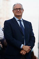 The candidate mayor of Rome for center-left coalition Roberto Gualtieri during the closing of the electoral campaign to elect the new mayor of Rome, in San Basilio, a neighborhood in the outskirts of Rome.<br /> Rome (Italy), October 1st 2021<br /> Photo Samantha Zucchi / Insidefoto