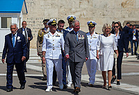 Pictured: Prince Charles and the Duchess of Cornwall inspect the Presidential Guards, also known as Tsoliades at Syntagma Square after laying a wreath at the Monument of the Unknown Soldier in Athens, Greece. Wednesday 09 May 2018 <br /> Re: Official visit of HRH Prnce Charles and his wife the Duchess of Cornwall to Athens, Greece.