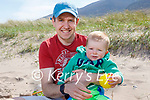 Conor Baker enjoying the beach with his dad Michael Baker in Derrymore on Saturday.