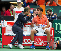 31-01-14,Czech Republic, Ostrava, Cez Arena, Daviscup Czech Republic vs Netherlands, The Dutch Benche with Captain Jan Siemerink and Robin Haase (NED)<br /> Photo: Henk Koster