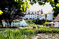 Pictured: View of the monastery on Caldey Island off the Pembrokeshire coast, Wales, UK. Circa 2006 <br /> Re: A small island off the Welsh coast known for its order of perfume-making monks and sense of tranquility has recorded its first crime in recent history.<br /> Police were called to Caldey Island which has apopulation of 40, off Tenby in Pembrokeshire, west Wales after an incident at the chocolate factory.<br /> The officers were taken on an RNLI lifeboat to the island, 2 miles off the resort of Tenby, to make an arrest.<br /> The crime was revealed when a visitor from Dudley, West Midlands, appeared in Haverfordwest magistrates court and admitted assault. The man was visiting the island when he struck his  7 year old son during a visit to the chocolate factory, where handmade treats are produced by monks.
