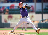 Dr. Krop Lightning pitcher Brenden Katz (16) during the 42nd Annual FACA All-Star Baseball Classic on June 6, 2021 at Joker Marchant Stadium in Lakeland, Florida.  (Mike Janes/Four Seam Images)