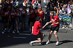 © Joel Goodman - 07973 332324 - all rights reserved . 24/08/2019. Manchester, UK. What appears to be a marriage proposal between two men in the LGBT+ Labour float . The 2019 Manchester Gay Pride parade through the city centre , with a Space and Science Fiction theme . Manchester's Gay Pride festival , which is the largest of its type in Europe , celebrates LGBTQ+ life . Photo credit: Joel Goodman/LNP
