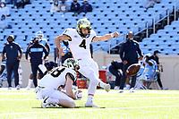 CHAPEL HILL, NC - NOVEMBER 14: Nick Sciba #4 of Wake Forest kicks an extra point during a game between Wake Forest and North Carolina at Kenan Memorial Stadium on November 14, 2020 in Chapel Hill, North Carolina.