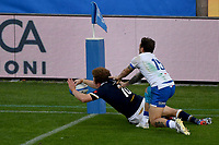 Duncan Weir of Scotland scores a try during the rugby Autumn Nations Cup's match between Italy and Scotland at Stadio Artemio Franchi on November 14, 2020 in Florence, Italy. Photo Andrea Staccioli / Insidefoto