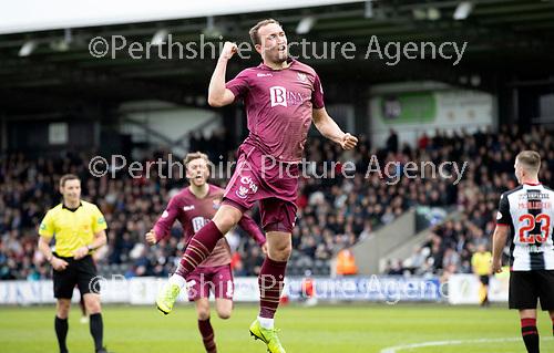 St Mirren v St Johnstone….27.04.19      St Mirren Park        SPFL<br />Chris Kane celebrates his goal<br />Picture by Graeme Hart. <br />Copyright Perthshire Picture Agency<br />Tel: 01738 623350  Mobile: 07990 594431