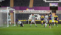 Thursday, 16 April 2014<br /> Pictured: A Tns defender (L) heads the ball away from a Swansea player's header.<br /> Re: FAW Youth Cup Final, Swansea City FC v The New Saints FC at the Liberty Stadium, south Wales,