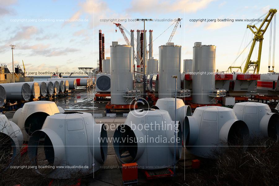 GERMANY, Mukran, loading terminal for Areva AD 5-135 350MW wind turbines for the IBERDROLA offshore windfarm Wikinger in the baltic sea / DEUTSCHLAND, Mukran auf der Insel Ruegen, Verladeterminal fuer Areva AD 5-135 35 MW Windkraftanlagen fuer den IBERDROLA offshore Windpark Wikinger in der Ostsee