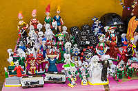 Oaxaca, Mexico, North America.  Day of the Dead Celebrations.  Altar Decorations, Children's Toys, Dolls, Skeletons, Skulls, Coffins.