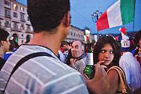 01/07/2012 Finale dei campionati europei di calcio 2012  Italia - Spagna: delusione dei tifosi in piazza a Torino.