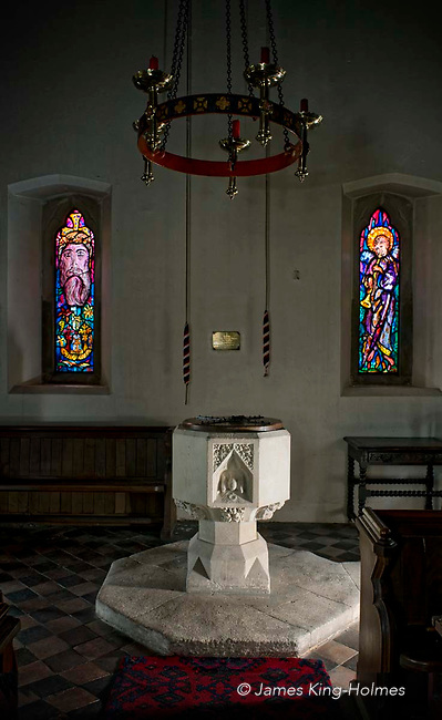 The font of St Lawrence Church, Tubney, Oxfordshire, UK. This is the only Protestant church designed by Augustus Pugin. The interior fittings were designed by him and remain unchanged since its consecration in 1847.