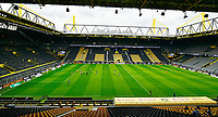 16th May 2020, Signal Iduna Park, Dortmund, Germany; Bundesliga football, Borussia Dortmund versus FC Schalke; A wide angled view of the stadium showing the lack of fans while the game takes place