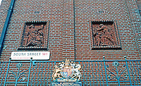 London:  T. Goode and Co.  Sculptured Brick Panels. South St. corner of S. Audley, Mayfair.