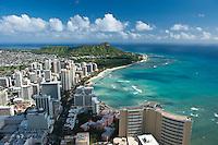 Aerial of Waikiki and Diamond Heaad with Waikiki Beach and The Royal Hawaiian Hotel
