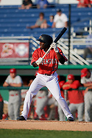 Batavia Muckdogs Milton Smith II (33) squares to bunt during a NY-Penn League game against the Auburn Doubledays on June 19, 2019 at Dwyer Stadium in Batavia, New York.  Auburn defeated Batavia 5-0 in the second game of a doubleheader.  (Mike Janes/Four Seam Images)