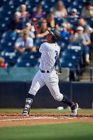Tampa Tarpons Oswaldo Cabrera (3) bats during a Florida State League game against the Jupiter Hammerheads on July 26, 2019 at George M. Steinbrenner Field in Tampa, Florida.  Tampa defeated Jupiter 2-0.  (Mike Janes/Four Seam Images)
