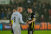 Sunday  14th   December 2014 <br /> Pictured: Jonjo Shelvey of Swansea City and Ben Davies of Tottenham Hotspur  shake hands after the game <br /> Re: Barclays Premier League Swansea City v Tottenham Hotspur  at the Liberty Stadium, Swansea, Wales,UK