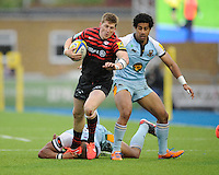 20130512 Copyright onEdition 2013©.Free for editorial use image, please credit: onEdition..David Strettle of Saracens forces his way through Ken Pisi (right) and Luther Burrell of Northampton Saints during the Premiership Rugby semi final match between Saracens and Northampton Saints at Allianz Park on Sunday 12th May 2013 (Photo by Rob Munro)..For press contacts contact: Sam Feasey at brandRapport on M: +44 (0)7717 757114 E: SFeasey@brand-rapport.com..If you require a higher resolution image or you have any other onEdition photographic enquiries, please contact onEdition on 0845 900 2 900 or email info@onEdition.com.This image is copyright onEdition 2013©..This image has been supplied by onEdition and must be credited onEdition. The author is asserting his full Moral rights in relation to the publication of this image. Rights for onward transmission of any image or file is not granted or implied. Changing or deleting Copyright information is illegal as specified in the Copyright, Design and Patents Act 1988. If you are in any way unsure of your right to publish this image please contact onEdition on 0845 900 2 900 or email info@onEdition.com